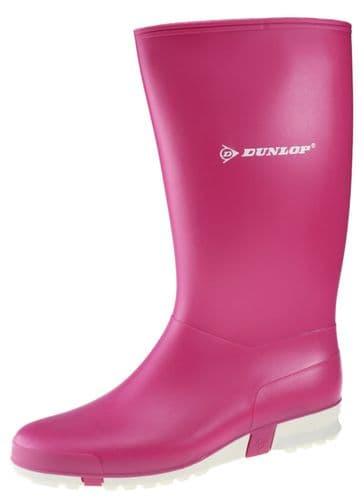 Dunlop Sport Pink/White Wellington Ladies Pink Boots